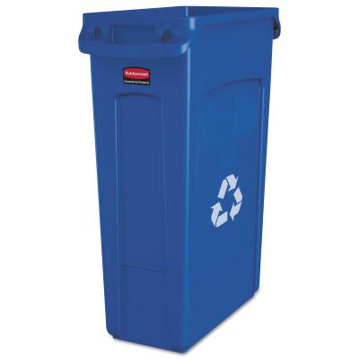 RUBBERMAID COMMERCIAL Slim Jim Recycling Containers, 23 gal, Plastic, Blue