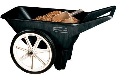RUBBERMAID COMMERCIAL Big Wheel Cart, 27 1/2 in w x 47 in l x 24 3/4 in h, Black, 38.2 lb