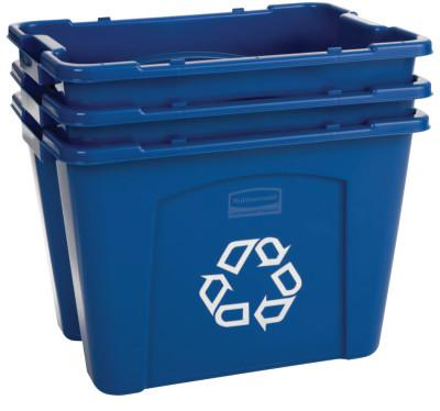 RUBBERMAID COMMERCIAL Recycling Boxes, 14 gal, 16 in x 21 in x 14 3/4 in, Blue
