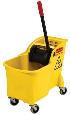 RUBBERMAID COMMERCIAL Tandem Bucket and Wringer Combo, 31 qt, Yellow