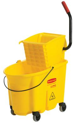 RUBBERMAID COMMERCIAL WaveBrake Bucket/Wringer Combination Pack, 35 qt, Yellow