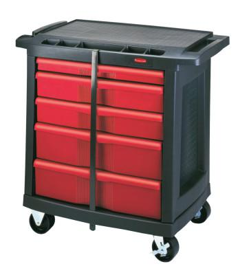 RUBBERMAID COMMERCIAL 5-DRAWER MOBILE WORKCENTER 32.6X19.8X33.5 BLA/RED