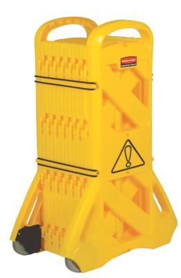 RUBBERMAID COMMERCIAL Mobile Barriers, 40 in x 13 ft, Plastic, Yellow