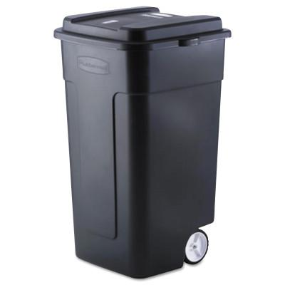 RUBBERMAID COMMERCIAL Roughneck Trash Cans, 50 gal, Black