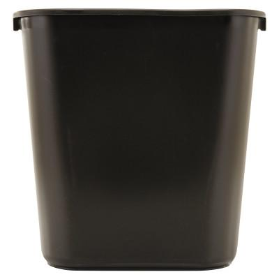 RUBBERMAID COMMERCIAL Deskside Plastic Wastebasket, Rectangular, 7 gal, Black