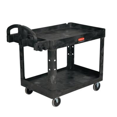 RUBBERMAID COMMERCIAL Two Lipped Shelves Utility Carts, 45 1/4 x 25.88 x 33 1/4h, Black