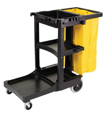 RUBBERMAID COMMERCIAL Carts, 46 X 21 3/4 X 38 3/8h, Black