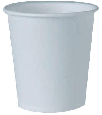 SOLO Flat Bottom Paper Water Cups, 4 oz, White
