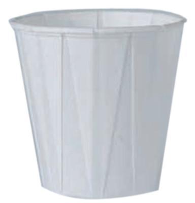 SOLO Pleated Paper Water Cups, 3 1/2 oz, White, 5,000 per case
