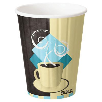 SOLO DuoShield Insulated Paper Hot Cup,12oz, Tuscan Cafe,Beige/Brown/Blue
