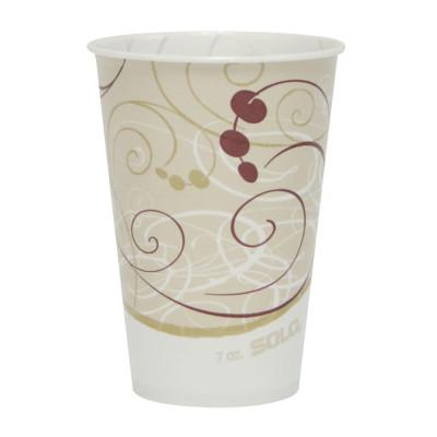 SOLO Wax-Coated Paper Cold Cups, 7 oz, Jazz Design