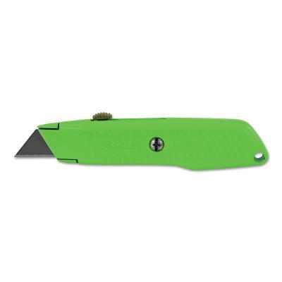 STANLEY Interlock® High Viz Retractable Utility Knife, 5-7/8 in, Carbon Steel, Green
