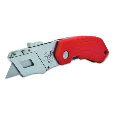 STANLEY Folding Pocket Safety Knives,4.312 in,Folding Steel Blade,Bi-Material,Gray;Red