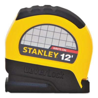 STANLEY LeverLock Tape Measures, 1 in x 26 ft, Metric, Black/Yellow