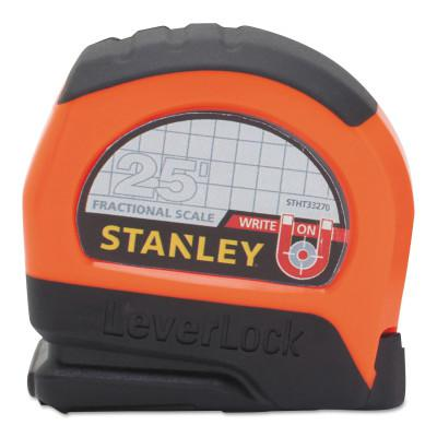 STANLEY TOOLS FOR THE MEC Magnetic Tip and Fractional Read LeverLock Tape Measures, 1in x 25 ft, Black/Red