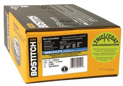 "BOSTITCH NAIL COIL 090 RNG. 2""GALV. 3600 PER BOX"