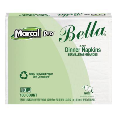 MARCAL PRO 100% Premium Recycled Bella Dinner Napkins, 15 x 17, White