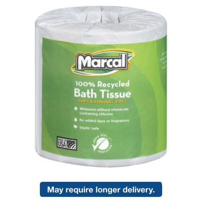 MARCAL PAPER 100% Recycled Two-Ply Bath Tissue, White, 504 Sheets/Roll