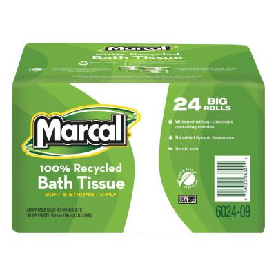 MARCAL PAPER 100% Recycled  Bundle Two-Ply Bath Tissue Roll, White
