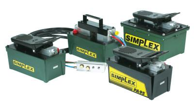 SIMPLEX Air Powered Hydraulic Pumps, 90 cu in Useable Oil Cap. Max, 60CFM at 10,000psi