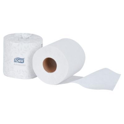 TORK Advanced 2-Ply Bath Tissue, 2-Ply, White, 500 Sheets