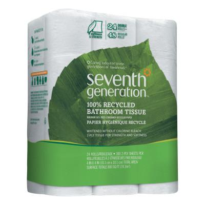 SEVENTH GENERATION 100% Recycled Bathroom Tissue, 2-Ply, White, 300 Sheets/Roll