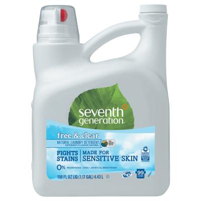 SEVENTH GENERATION Natural 2X Concentrate Liquid Laundry Detergent, Free & Clear, 99 loads, 150oz