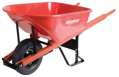 JACKSON PROFESSIONAL TOOL Razor-Back Wheelbarrows, 6 cu ft, Solid Knobby w/Grease Fittings, Red