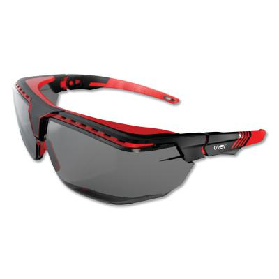 HONEYWELL UVEX Avatar™ OTG Safety Glasses, Gray/Polycarbonate/Anti-Reflective Lens, Red/Black