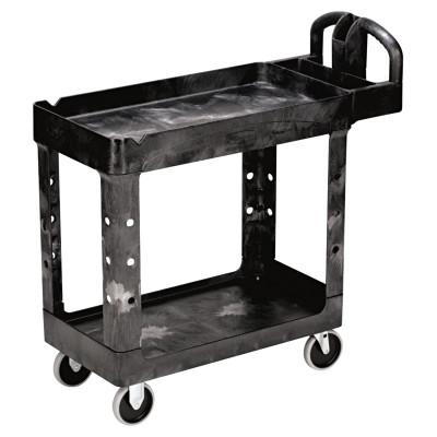 RUBBERMAID COMMERCIAL Heavy-Duty Utility Cart, Two-Shelf, 17-1/8w x 38-1/2d x 38-7/8h, Black