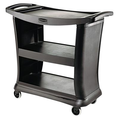 RUBBERMAID COMMERCIAL Executive Service Cart, Three-Shelf, 20-1/3w x 38-9/10d, Black
