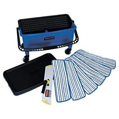 RUBBERMAID COMMERCIAL Microfiber Floor Finishing System, 27gal, Blue/Black/White