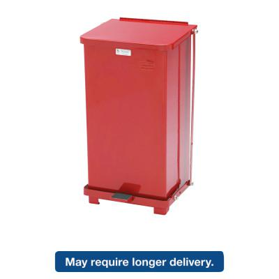 RUBBERMAID COMMERCIAL Defenders Biohazard Step Can, Square, Steel, 12gal, Red