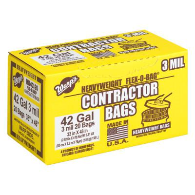 WARP BROTHERS FLEX-O-BAG Contractor Bags, 42 oz, 3 mil Thick, 33 in w x 48 in h