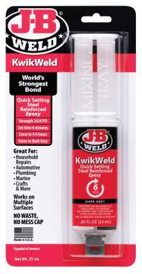 J-B WELD Cold Weld Compounds, 25 mL KwikWeld Syringe Skin Packed, Black