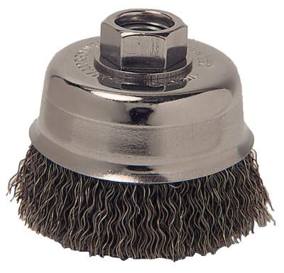 ANCHOR BRAND Crimped Wire Cup Brush, 3 in Dia., 5/8-11 Arbor, 0.012 in Carbon Steel