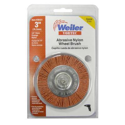 WEILER Vortec Pro Knot Wire Wheels, 3 in Dia, 3/4 in Trim, 1/4 in Shank Mount