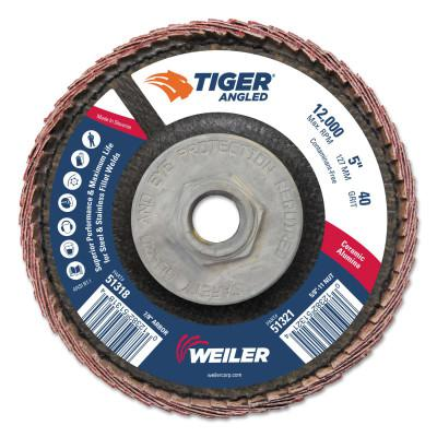 WEILER Tiger Ceramic Angled Flap Discs, 5 in Dia, 40 Grit, 5/8 in-11 Arbor, 12000 rpm