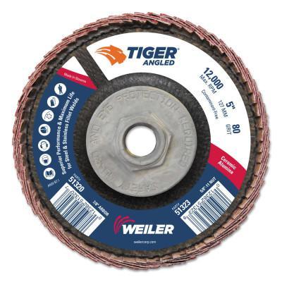 WEILER Tiger Ceramic Angled Flap Discs, 5 in Dia, 80 Grit, 5/8 in-11 Arbor, 12000 rpm
