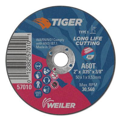 WEILER Tiger Aluminum Oxide Type 1 Cutting Wheel, 4 x 1/4 x 1/4, A24T T1