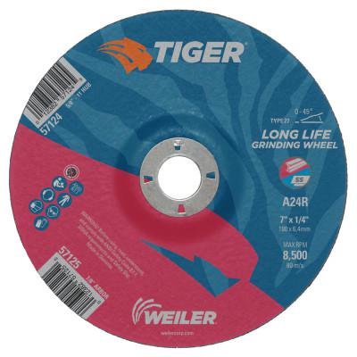 WEILER Tiger Grinding Wheels, 4 in Dia, 1/4 in Thick, 3/8 in Arbor