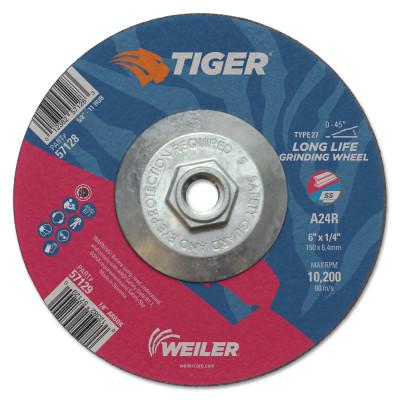 WEILER Tiger Grinding Wheels, 6 in Dia., 1/4 in Thick, 24 Grit, Aluminum Oxide