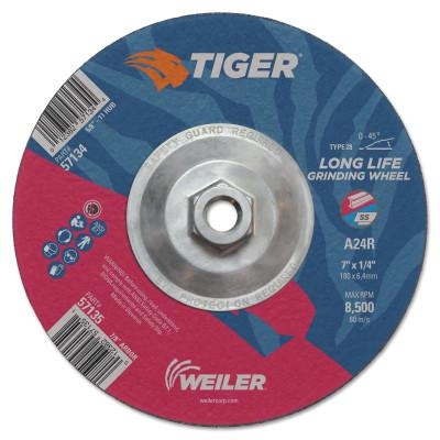 WEILER Tiger Grinding Wheels, 7 in Dia., 1/4 in Thick, 24 Grit, Aluminum Oxide