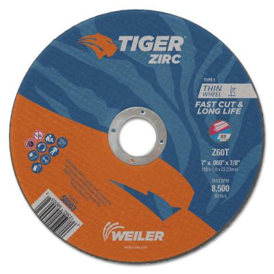 WEILER Tiger Zirc Thin Cutting Wheels, 7 in Dia., 0.06 in Thick, 7/8 in Arbor, 60 Grit