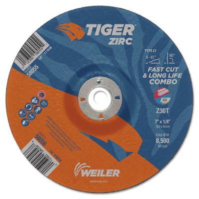 """WEILER Tiger Zirc Combo Wheels, 7"""" Dia., 1/8"""" Thick, 7/8"""" Arbor, 30 Grit, Zirconium"""