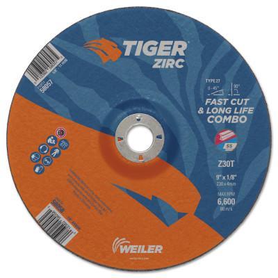 """WEILER Tiger Zirc Combo Wheels, 9"""" Dia., 1/8"""" Thick, 7/8"""" Arbor, 30 Grit, Zirconium"""