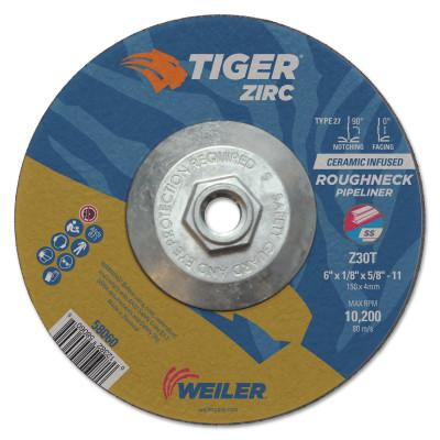 WEILER Tiger Roughneck Pipeliner Wheels, 6 in, 5/8 in Arbor, 30 Grit, Zirconia