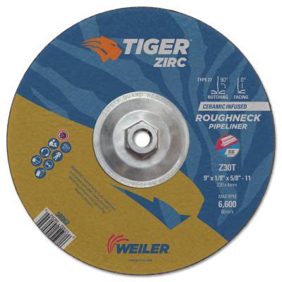 WEILER Tiger Roughneck Pipeliner Wheels, 9 in, 5/8 in Arbor, 30 Grit, Zirconia