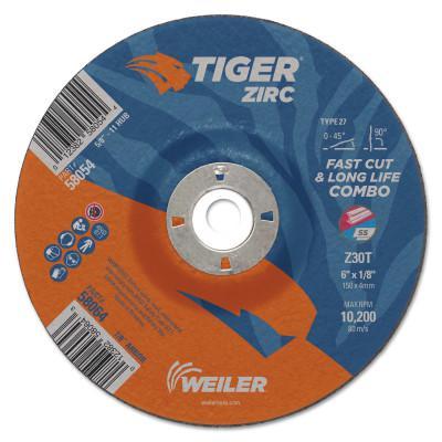 """WEILER Tiger Zirc Combo Wheels, 6"""" Dia., 1/8"""" Thick, 7/8"""" Arbor, 60 Grit, Zirconium"""