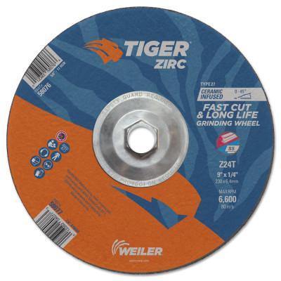 WEILER Tiger Zirc Grinding Wheels, Type 27, 9 in Dia., 1/4 in Thick, 24 Grit, Zirconium